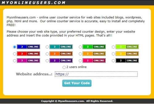 MyOnlineUsers - Ücretsiz web site sayaç servisi